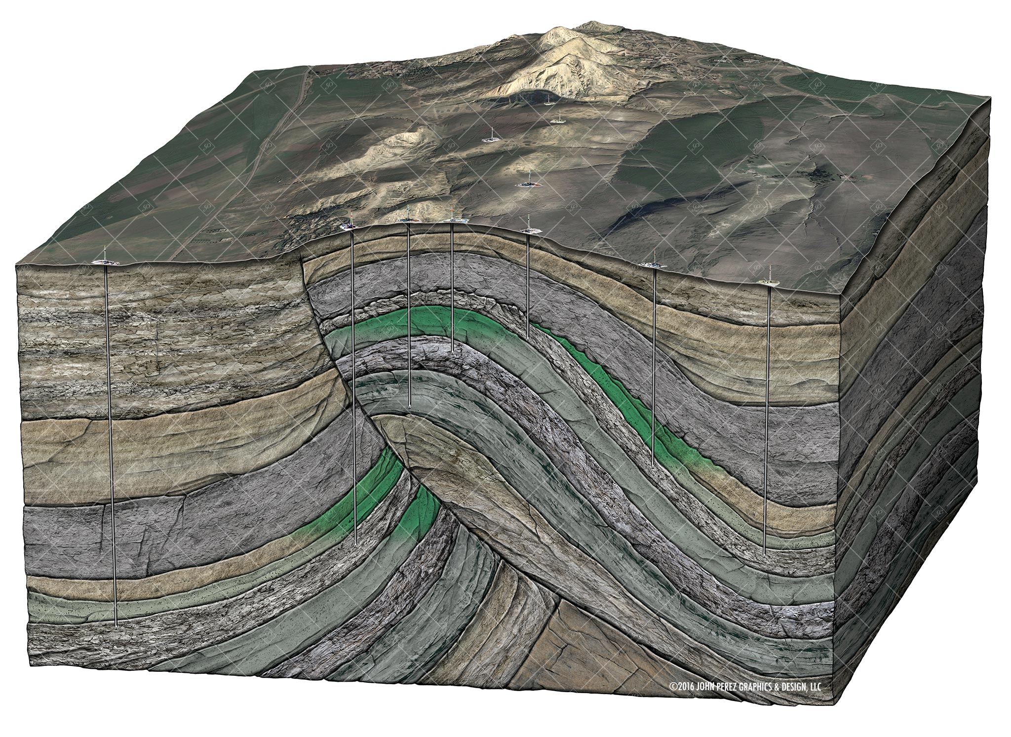 john perez graphics, Mountainous Region diagram, fault Schematic, oil and gas graphics, oil and gas schematics, drilling geology,