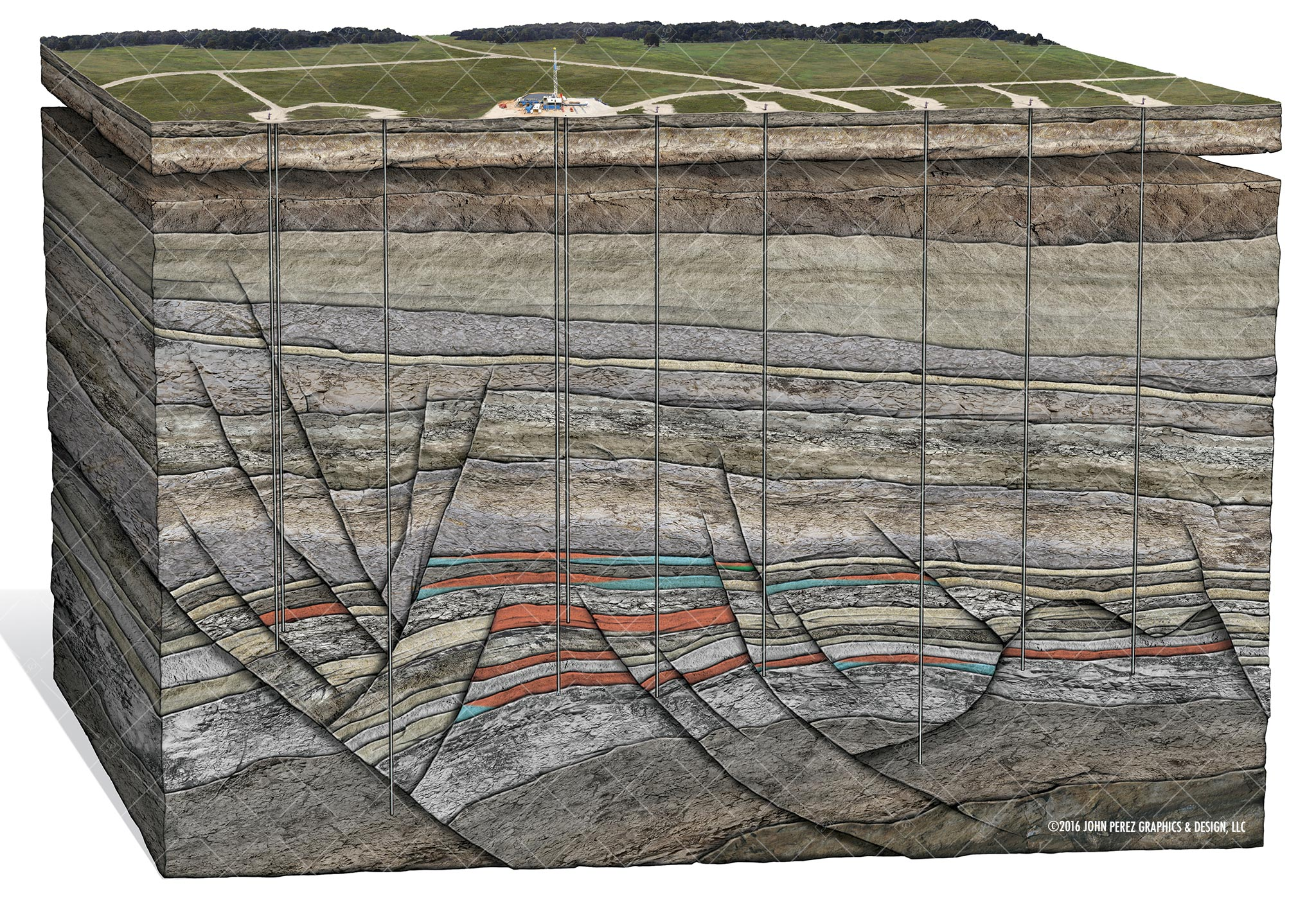john perez graphics, drilling geology, Natural Gas Field Development Schematic, oil and gas graphics, oil and gas schematics