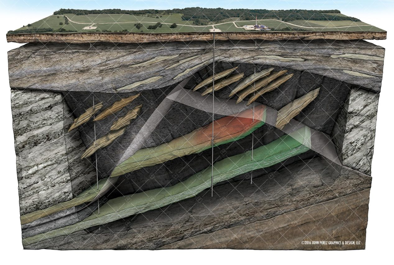 john perez graphics, Oil Gas Sandstone Drilling Schematic, oil and gas graphics, oil and gas schematics, drilling geology