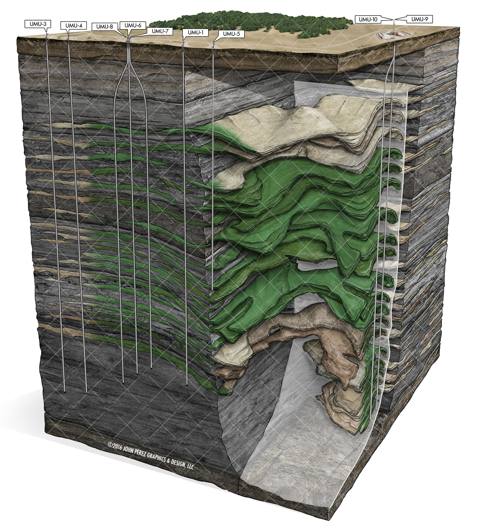 Oil Bearing Stacked Sandstone Beds Schematic, drilling geology, oil and gas graphics, oil and gas schematics, john perez graphics, oil and gas illustration