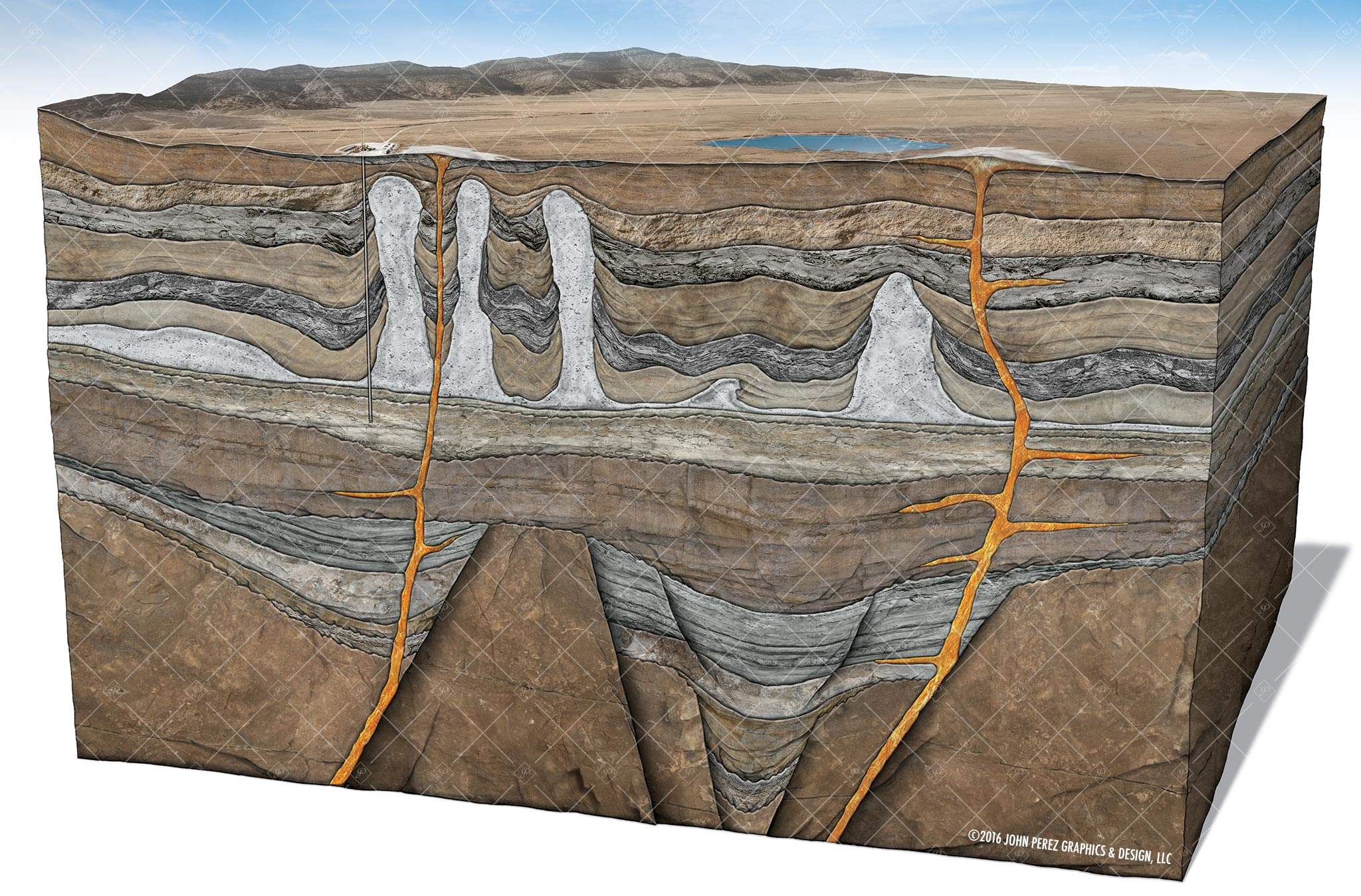 White Salt Dome Schematic Illustration, drilling geology, oil and gas graphics, oil and gas schematics, john perez graphics, geology illustration