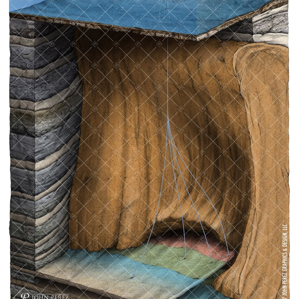 Offshore Drilling Oil Gas Salt Dome Illustration, john perez graphics, offshore illustration, drilling geology, oil and gas graphics