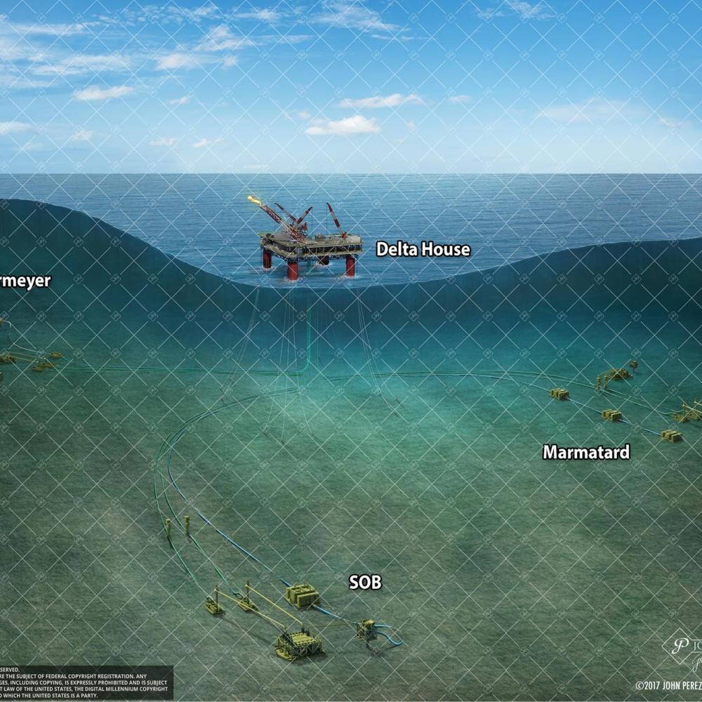 Offshore Cutaway Oil Gas Illustration, john perez graphics, oil and gas graphics, offshore illustration, drilling geology