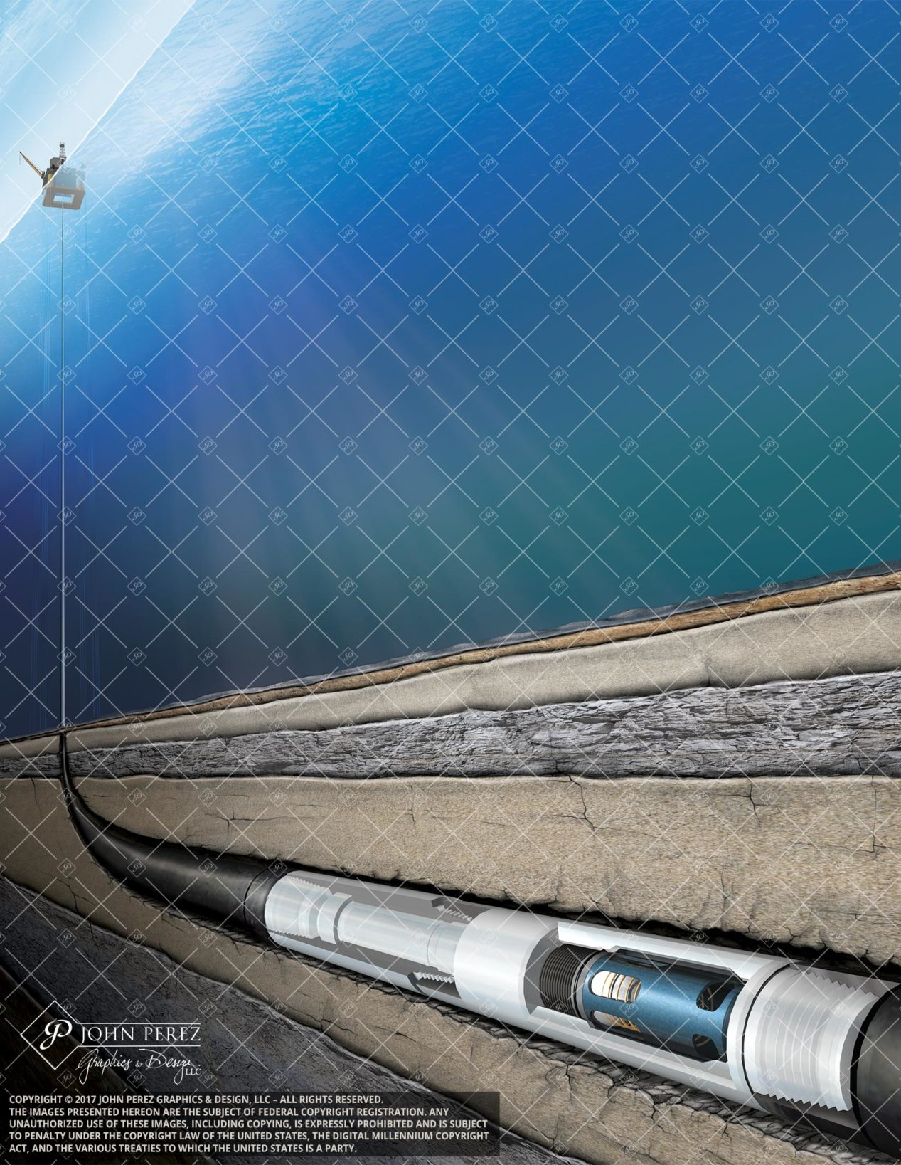 Offshore Deepwater Horizontal Illustration, geology illustration, John Perez Graphics, horizontal drilling