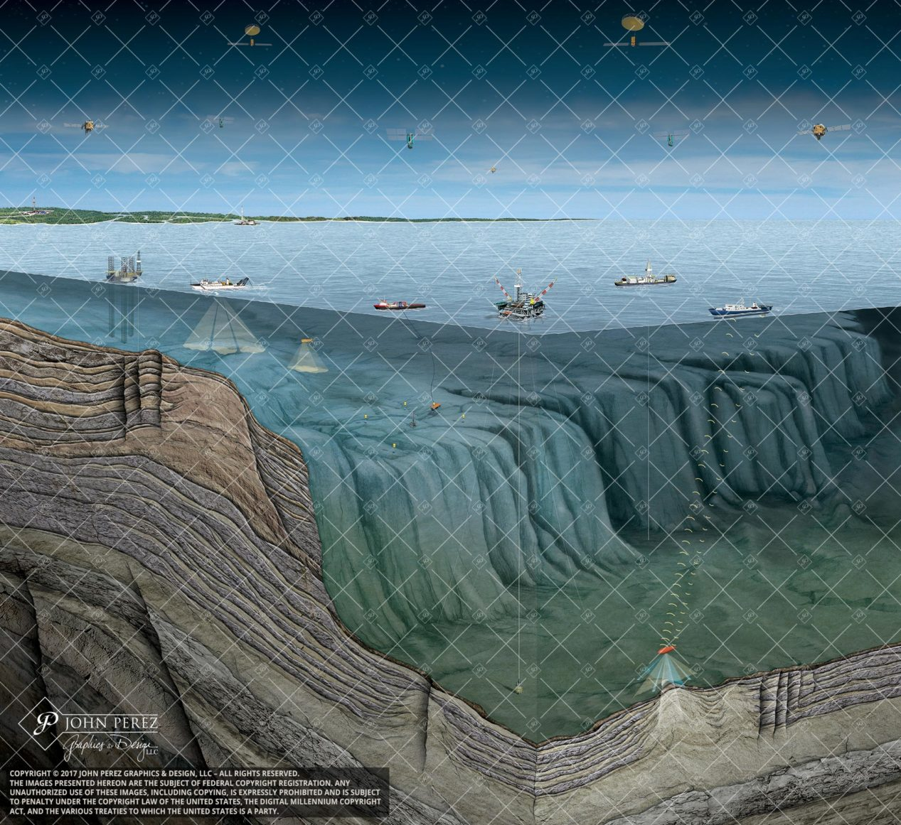 Offshore Technologies Oil Gas Illustration, John Perez Graphics, OS32, offshore drilling, geology illustration