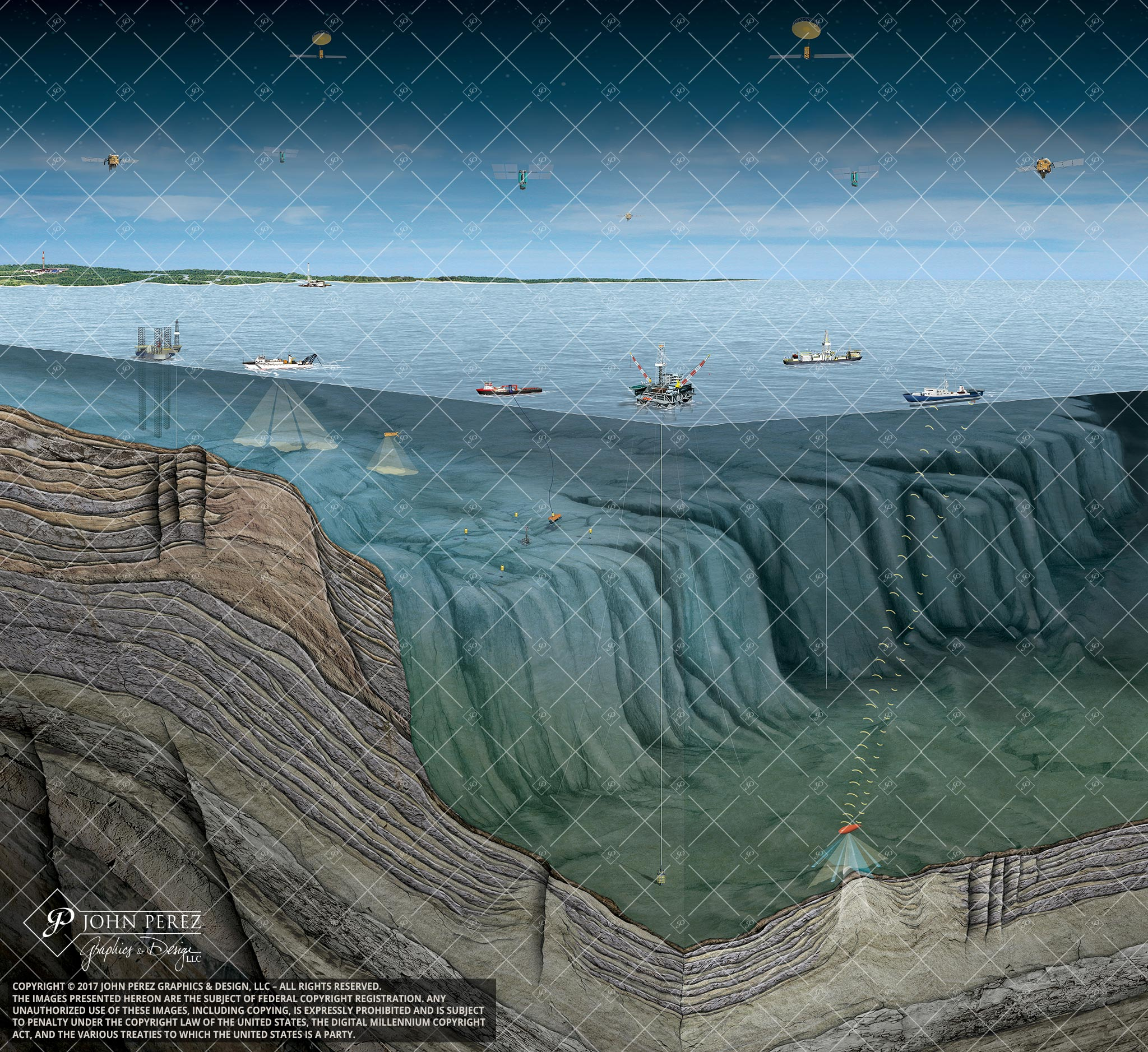 Offshore Technologies Oil Gas Illustration, John Perez Graphics, OS32, offshore drilling, geology illustration
