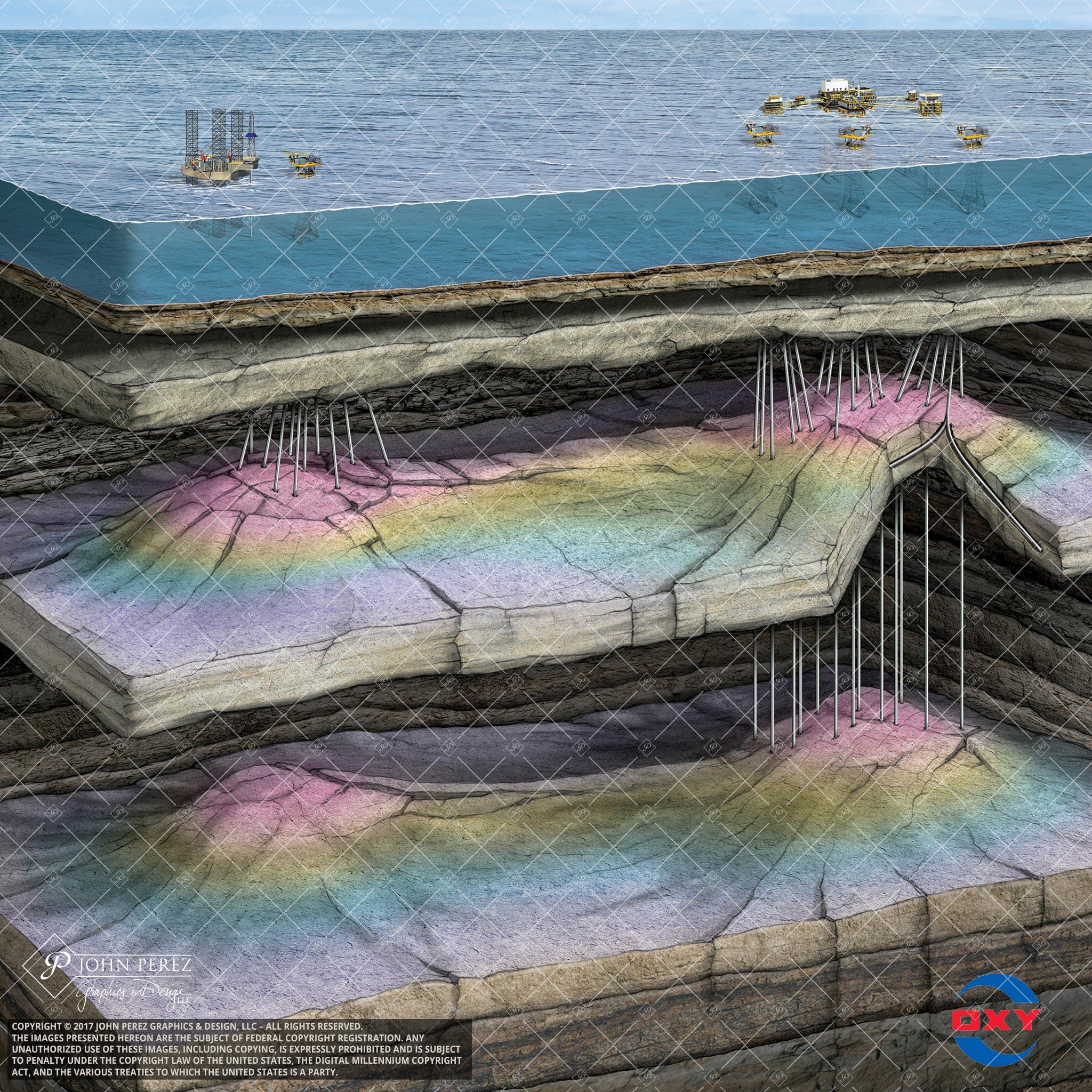 Oxy Jackup Oil Gas Illustration, John Perez Graphics, offshore, schematic, OS33, production platform, geology illustration