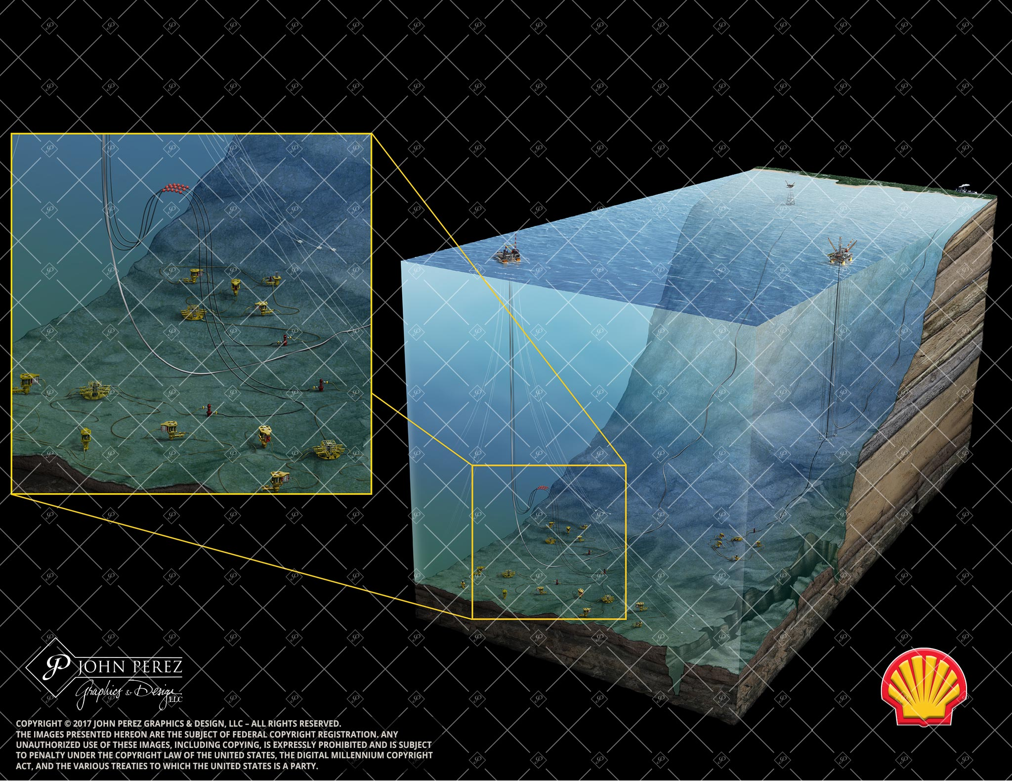 Offshore Shell Oil Gas Illustration, OS34, offshore, subsea, platform, tlp, shell, geology illustration