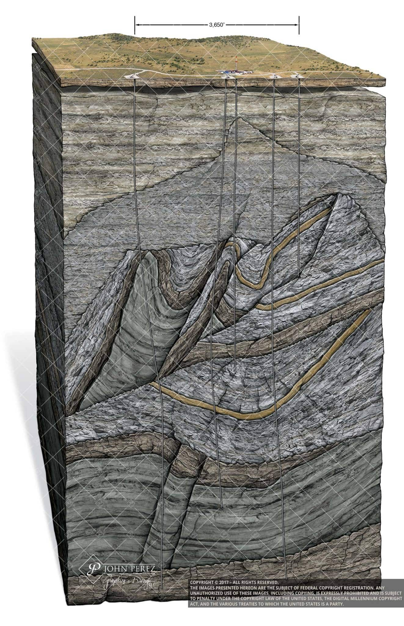 Multi Fault Vertical Drilling Oil Gas Illustration, john perez graphics, oil gas illustration, oil gas drilling, geology illustration