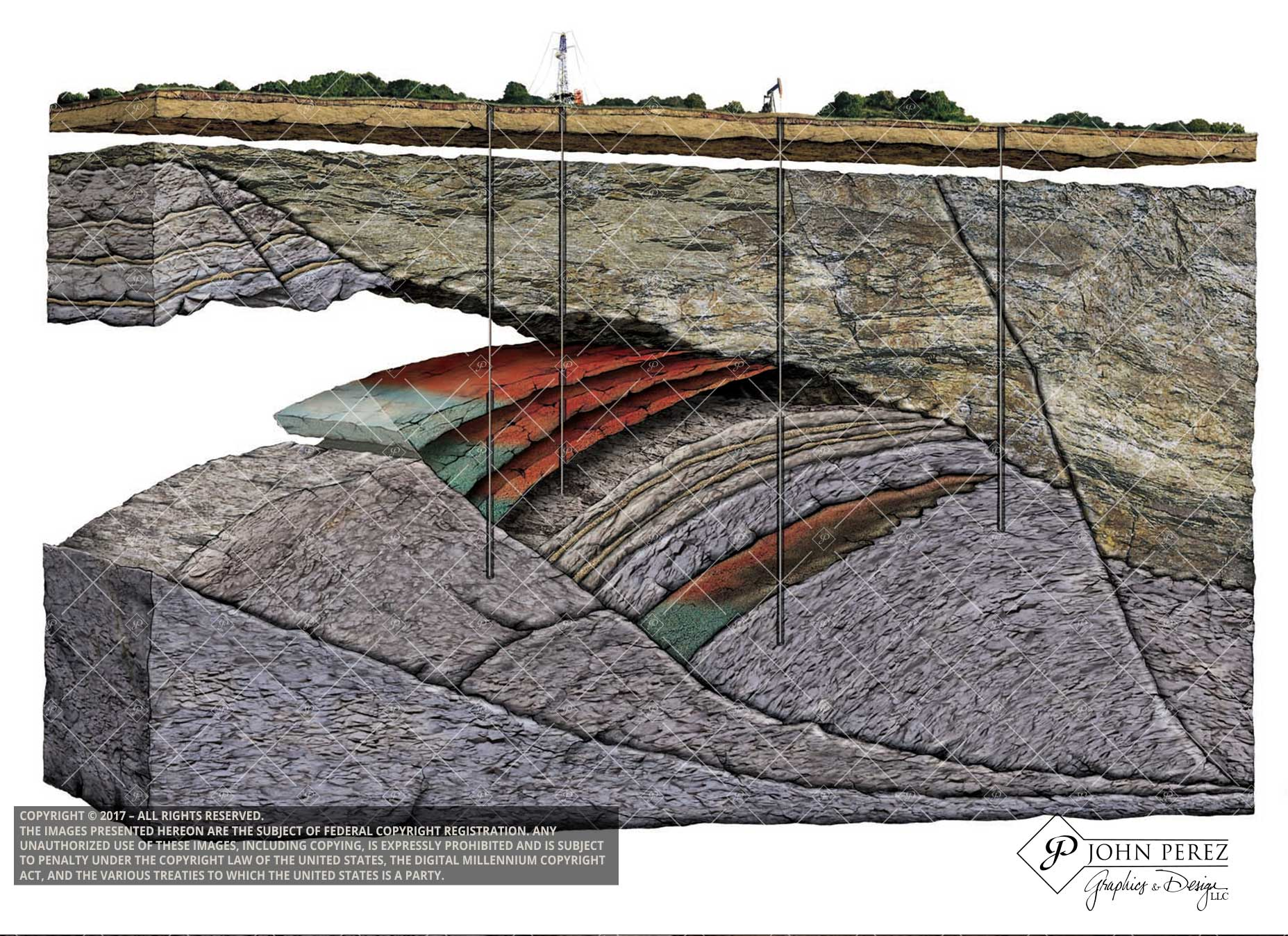 Stacked Pay Zones in Fault Shale Trap, john perez graphics, oil gas schematic, oil gas illustration, drilling illustration, vertical drilling