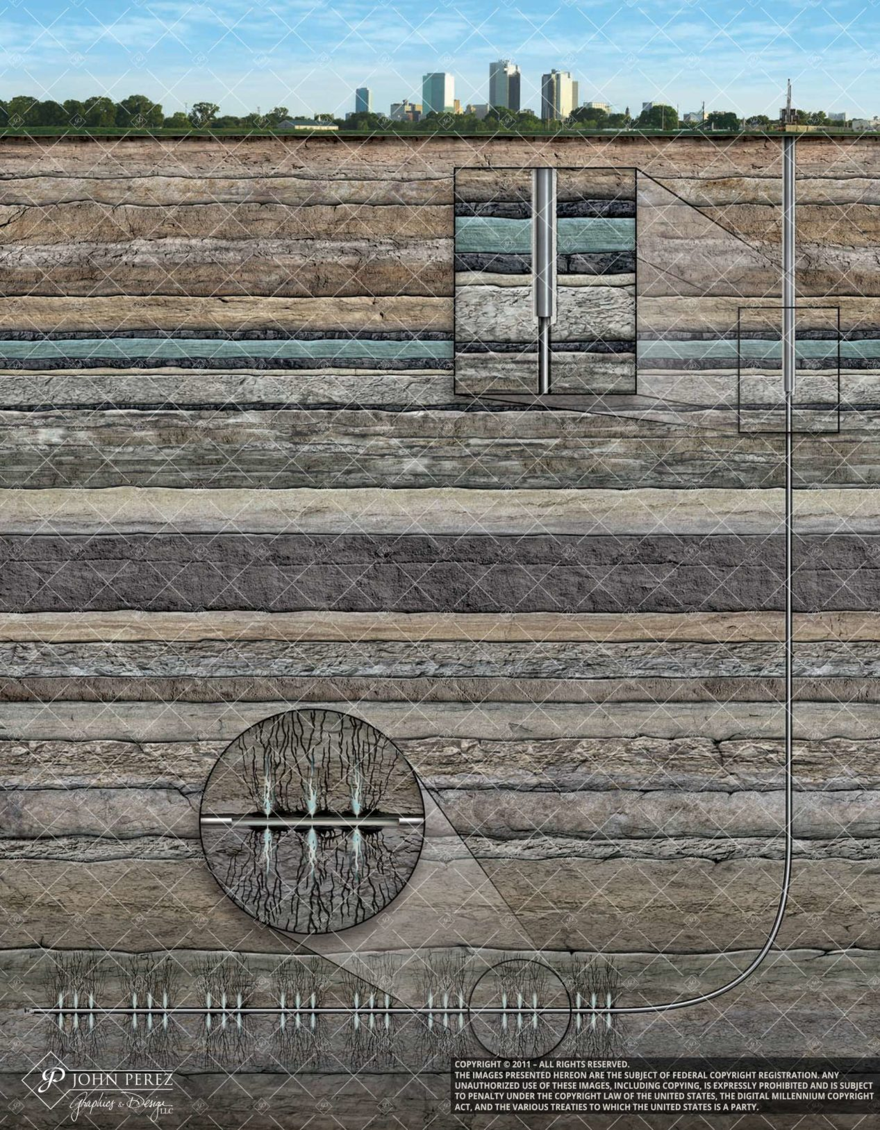 Horizontal Drilling Frac Under City No Blow Up, john perez graphics, oil gas schematic, oil gas illustration, horizontal drilling
