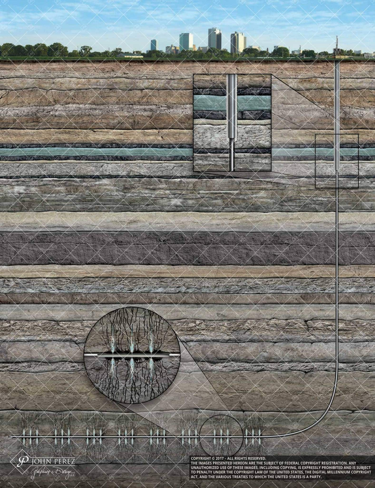 Horizontal Drilling Frac Under City, john perez graphics, oil gas illustration, oil gas schematic