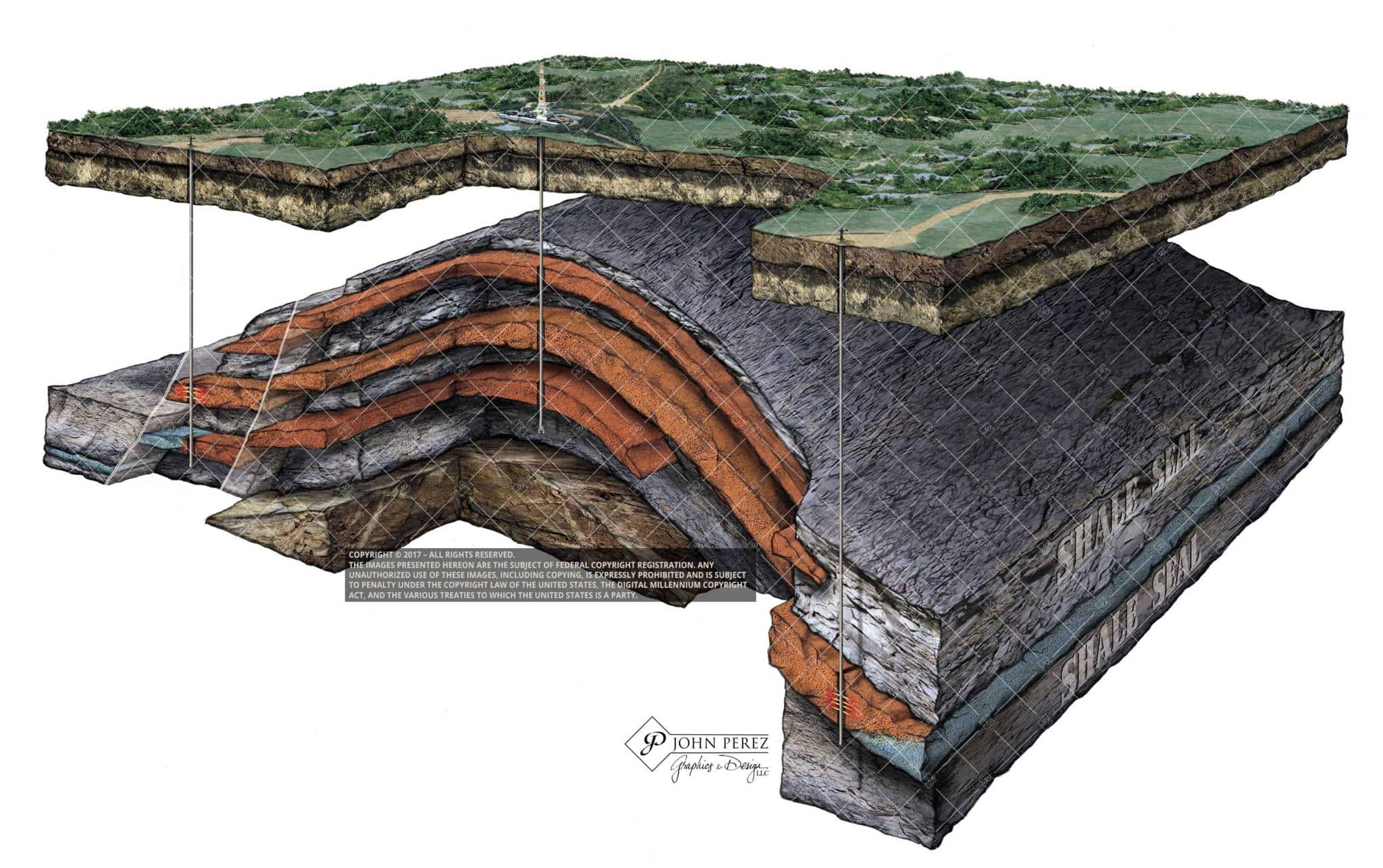 Anticlinal Stacked Formation, john perez graphics, anticline, oil gas schematic, oil gas illustration, M2