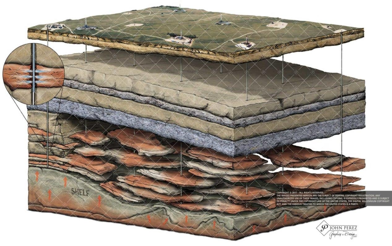 Stacked Sandstone Deposits with Natural Gas Illustration, john perez graphics, oil gas illustration, oil gas schematic