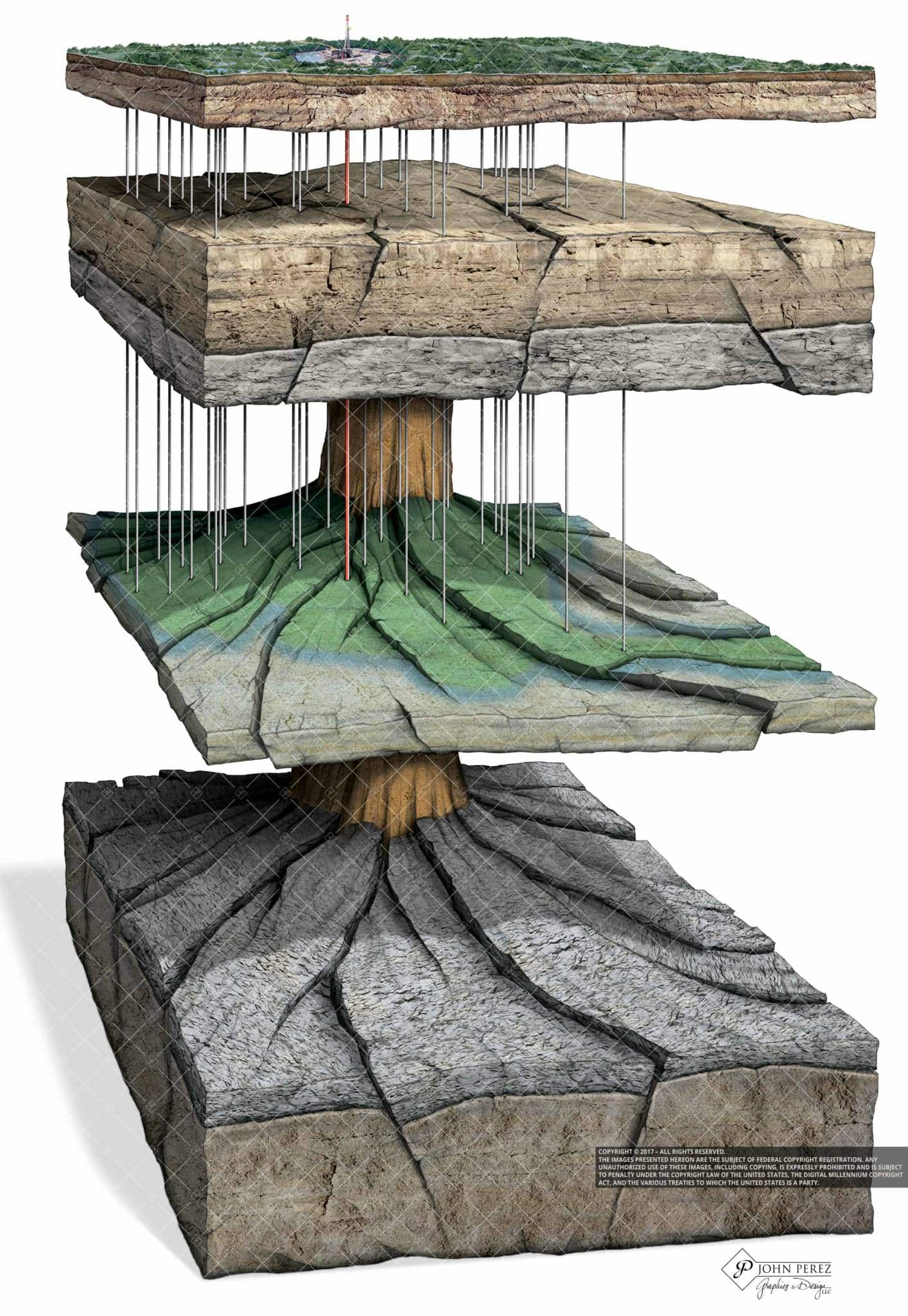 Faulted Formation Juxta Posed Against Salt Dome Illustration, john perez graphics, oil gas illustration, oil gas schematic