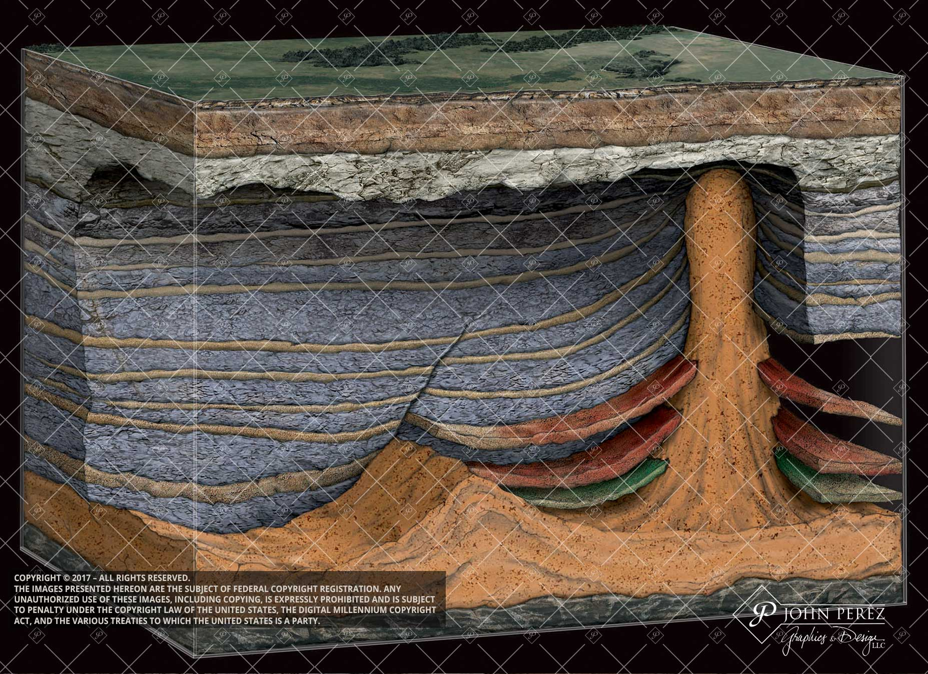 Pay Zones Stacked Against Salt Ridge with Dome, john perez graphics, salt dome, oil gas illustration, oil gas schematic