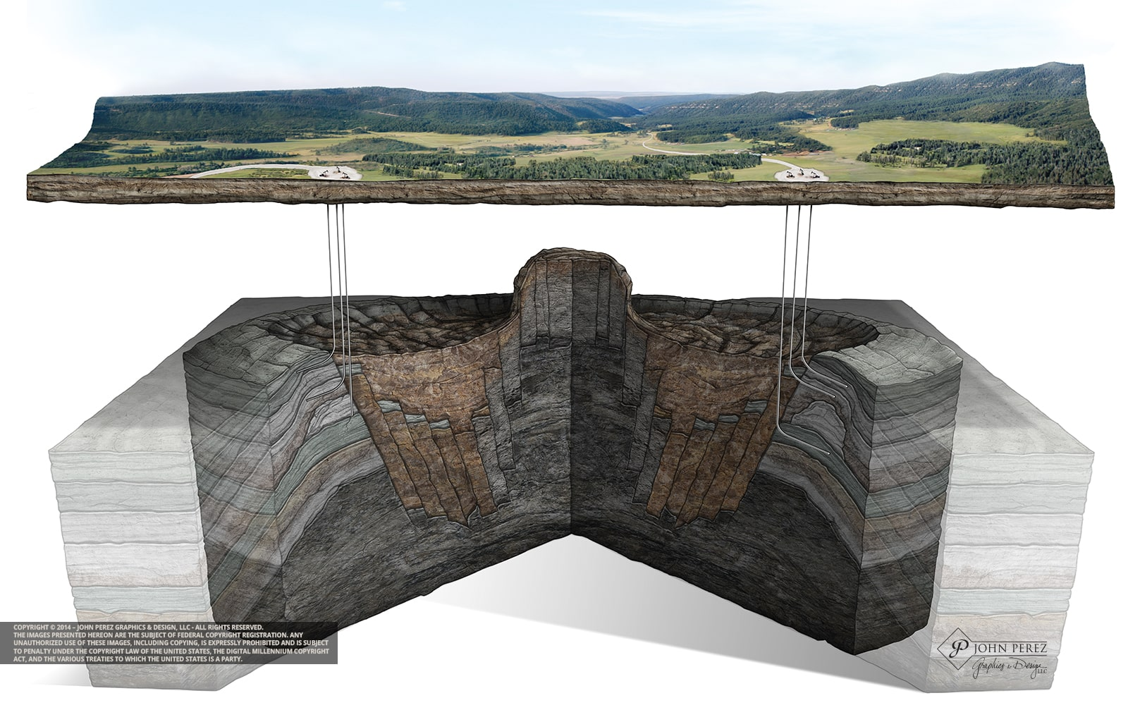 Asteroid Impact Crater Oil Gas Illustration, asteroid, john perez graphics, oil gas schematic