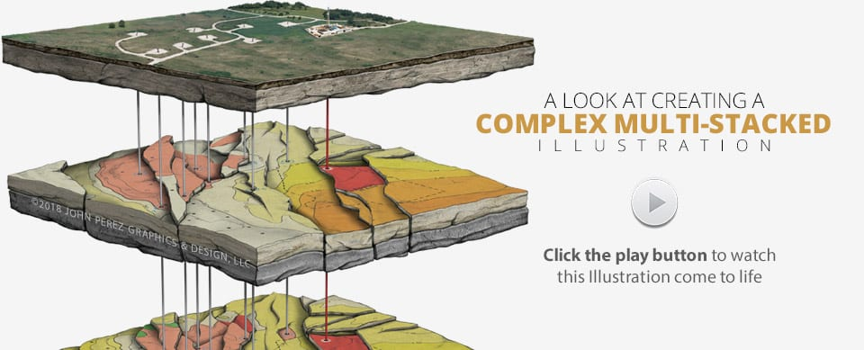 Complex Multi Stacked Oil Gas Illustration, oil gas graphics, john perez graphics