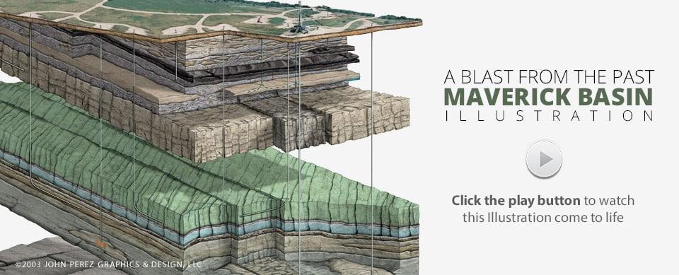 maverick basin oil gas illustration, oil gas graphics, john perez graphics
