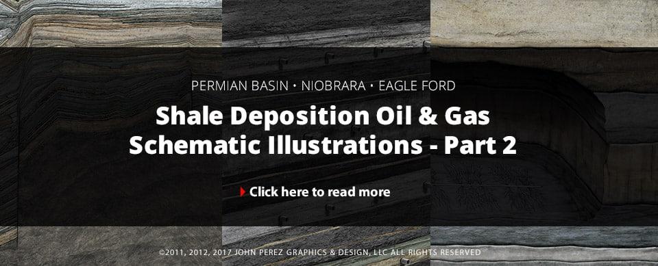 Shale Deposition Oil Gas Schematic Illustrations - Part 2, john perez graphics, oil gas graphics