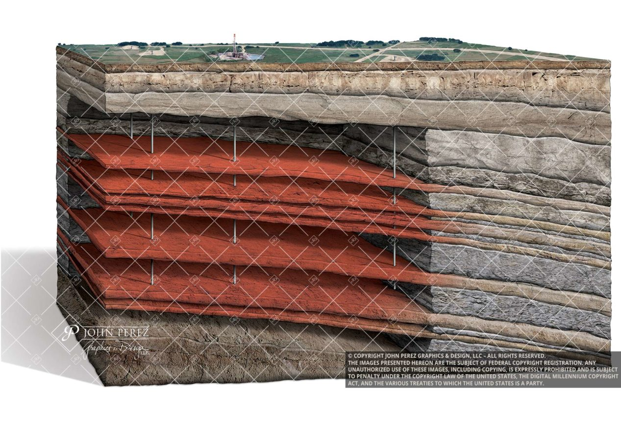 Stacked Sandstone Formation Gas Illustration, oil gas illustration, petroleum art, stacked pay