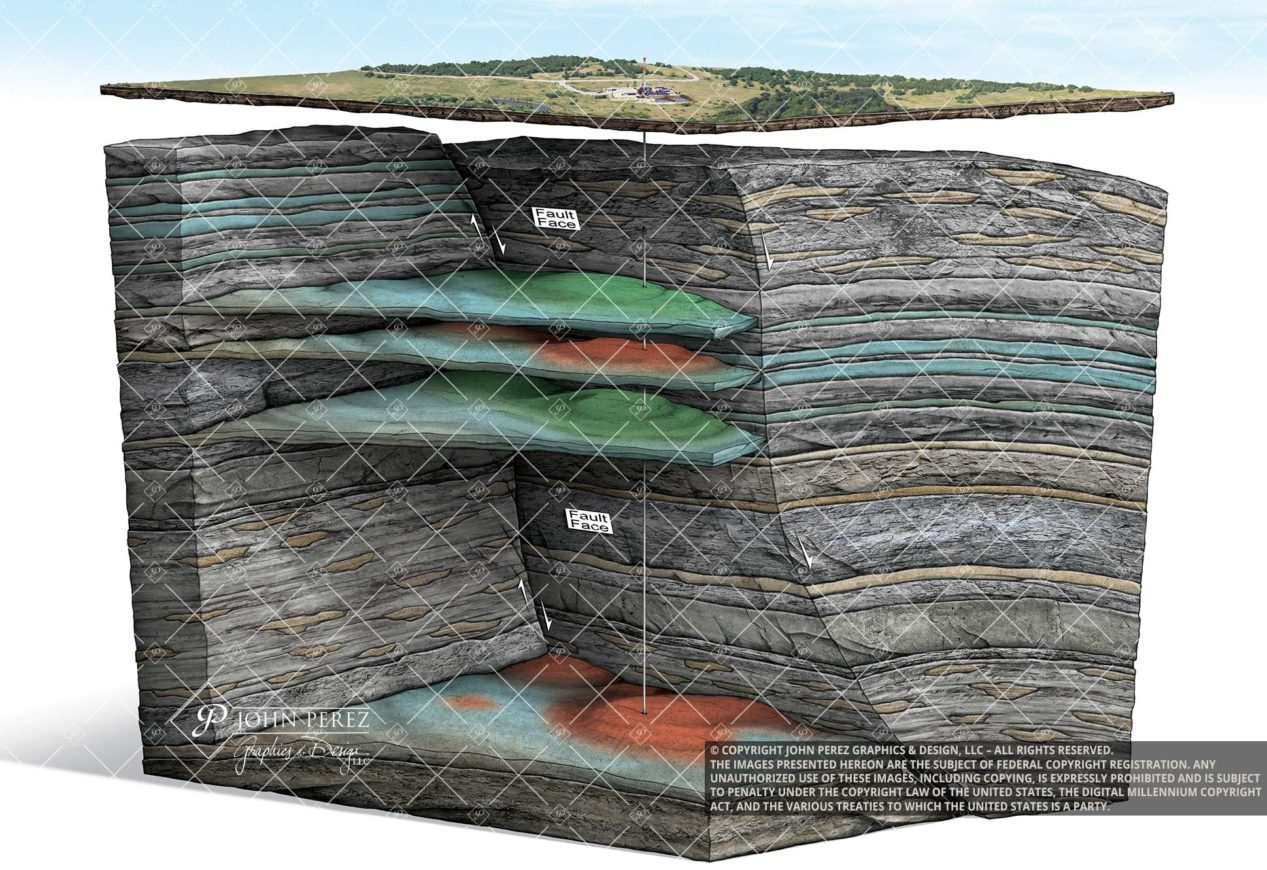 Anticline Fault Trap Oil Gas Illustration- oil gas graphic, petroleum art