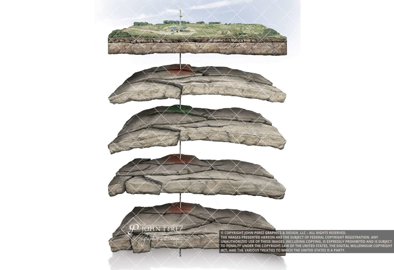 Stacked Play Vertical Sandstone Oil Gas Illustration, oil gas graphic, petroleum art, stacked sandstone play