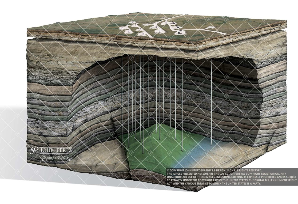 Anticline Trap Oil Water Illustration, oil gas graphic, petroleum graphic, anticline