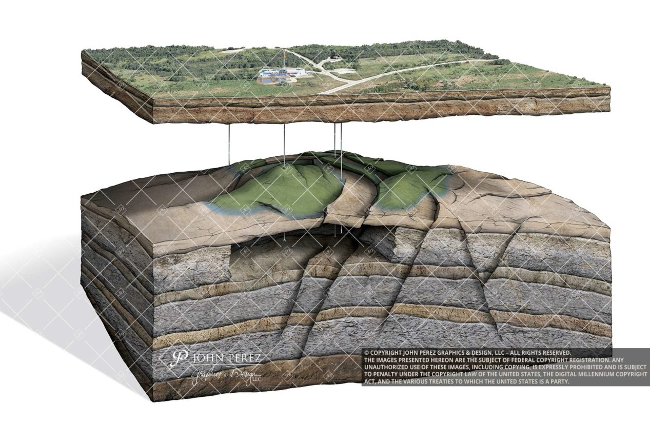Faulted Anticline Vertical Drilling Oil Illustration, oil gas graphic, anticline, petroleum art