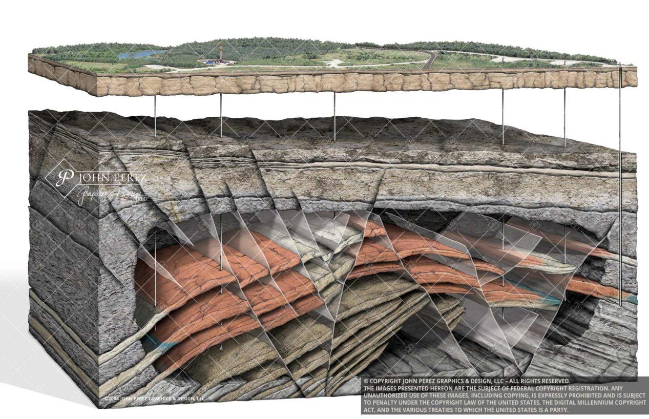 Multiple Fault Vertical Drilling Trapped Gas Illustration, geology art, oil gas art, petroleum art