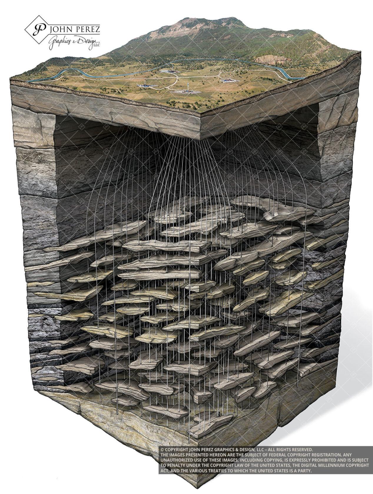Piceance Basin Oil Gas Schematic Illustration, john perez graphics, geologic art